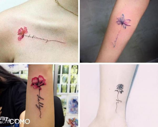 Tatuaje de flores: significado y simbolismo - Tatuaje de flores con nombres