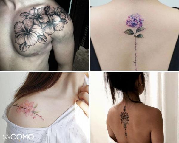 Tatuaje de flores: significado y simbolismo - Tatuaje de flores en la espalda y en el hombro