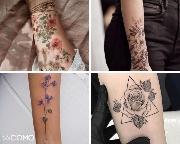 Tatuaje de flores: significado y simbolismo - Tatuaje de flores en el brazo y la mano