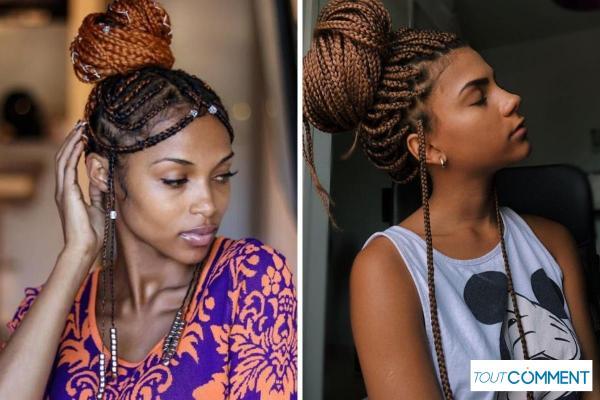 Peinados con trenzas africanas - Nudo superior con trenzas africanas