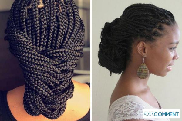 Peinados con trenzas africanas - Moño bajo con trenzas