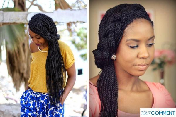 Peinados con trenzas africanas - trenza lateral