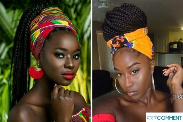 Peinados con trenzas africanas - Trenzas africanas con bufanda o turbante